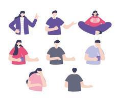 uppsättning människor som gör olika aktiviteter