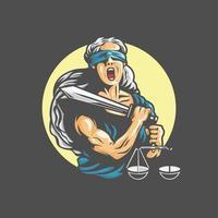 Die schreiende Göttin hält ein Schwert der Gerechtigkeit und Gewichte