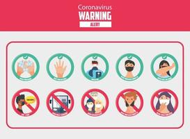 Satz von Symbolen für 19 Sicherheitsmaßnahmen und Vorsichtsmaßnahmen