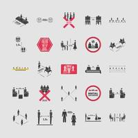 uppsättning ikoner för social distans