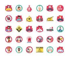 uppsättning ikoner för säkerhetsåtgärder och försiktighetsåtgärder