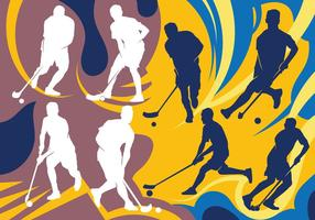 Unihockey-Spieler Silhouetten vektor