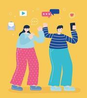 ung man och kvinna som tar en selfie vektor