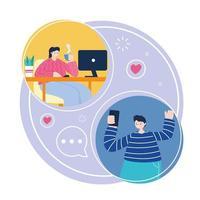 junger Mann und Frau verbinden sich online