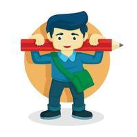 Kind mit großem Bleistift über den Schultern