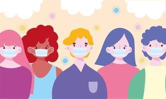 olika karaktärer som bär medicinska ansiktsmasker vektor