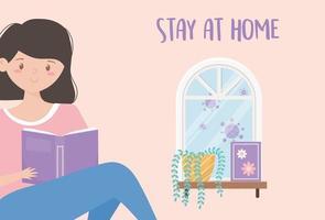 flicka som läser en bok hemma gratulationskort vektor