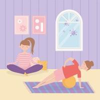 kvinnor som utövar yoga tillsammans hemma vektor