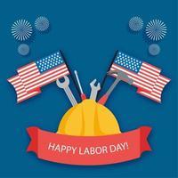 glad arbetsdag festival banner med hatt, verktyg och flaggor