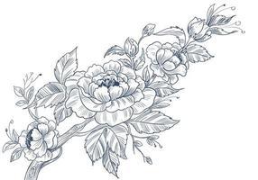 skissartad dekorativ blommönster vektor