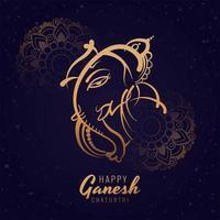 glad ganesh chaturthi festival fyrkantig kortdesign vektor