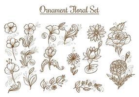 handgezeichnete Skizze Blumenset vektor