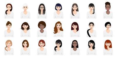 uppsättning söta tecknade flickor med olika frisyrer vektor