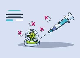 Infografik mit medizinischer Spritze und Erforschung des Coronavirus vektor
