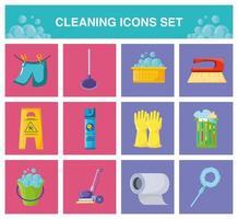rengöring modern ikoner set