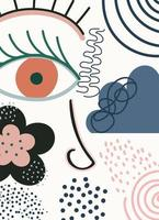 ansikte och abstrakt, handritad modern formmall