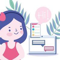 student tjej ansluter via online-utbildning vektor