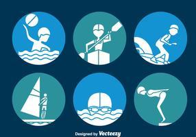 Vatten sport cirkel ikoner vektor