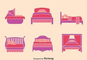 Säng platta ikoner samling vektor