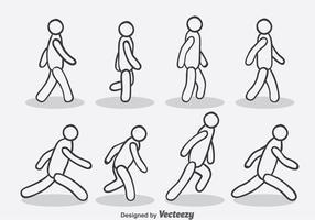 Hand gezeichneter Weg und laufen Zyklus-Vektor