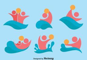 Vattenpolo ikoner vektor