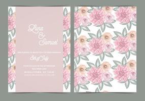 Blush Floral Vektor Hochzeit einladen