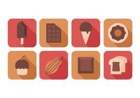 Freie Schokolade flache Ikonen vektor