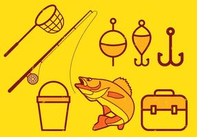 Fiske ikoner Set vektor