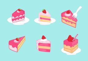 Jordgubbe shortcake skiva vektor pack