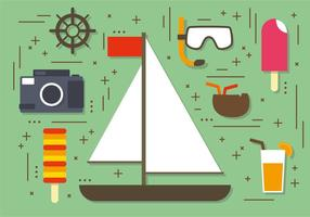 Flach Sommer Segelboot Elemente Vektor