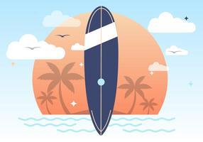 Solnedgång Sommar Surfing Vektor Bakgrund