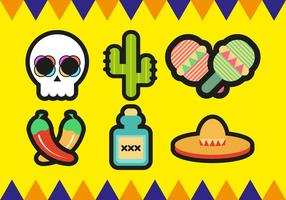 Mariachi Mexikanska Minimalistiska Ikoner Vector