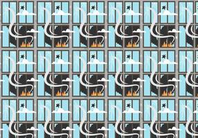 Feuer und gebrochene Windows-Muster-Vektor