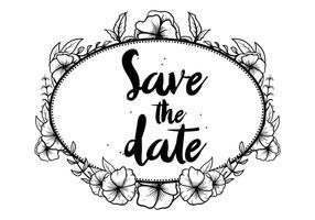 Hand Darwn Pansy retten die Datums-Einladungs-Vektor