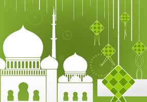 Flaches Design von Ketupat und Moschee vektor