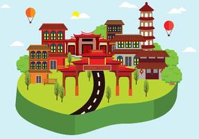 Gratis Kina Town Illustration