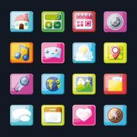 grupp av moderna mobilapp-ikoner vektor