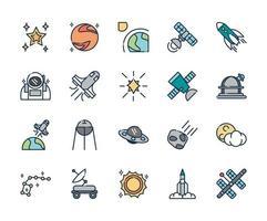 olika astronomi och rymdvetenskap ikoner vektor