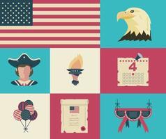 vacker uppsättning ikoner för självständighetsdagen vektor
