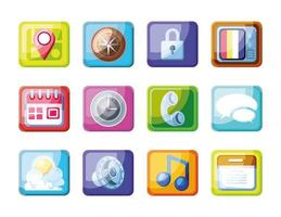mobil app uppsättning ikoner vektor