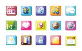 uppsättning ikoner för mobilapp vektor