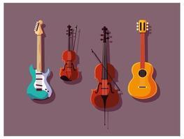 Saitenmusikinstrumentenset vektor