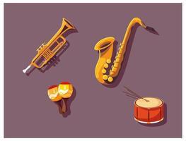 Satz von Musikinstrumenten