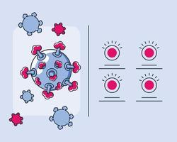 Infografik mit Virion von Coronavirus-Symbolen