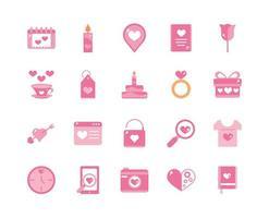 samling av alla hjärtans dag firande romantiska rosa ikoner