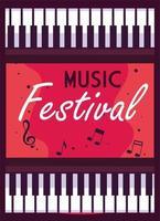 affischmusikfestival med musikinstrument piano vektor