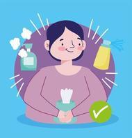 man med desinfektionsspray