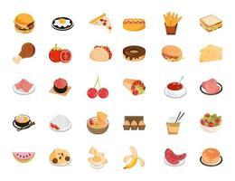 samling av restaurangmat och frukter platt stilikoner