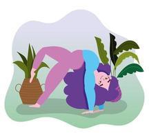 junge Frau, die Yoga praktiziert vektor