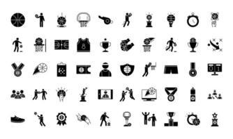 Sammlung von Ikonen im Silhouette-Stil des Basketballspiels